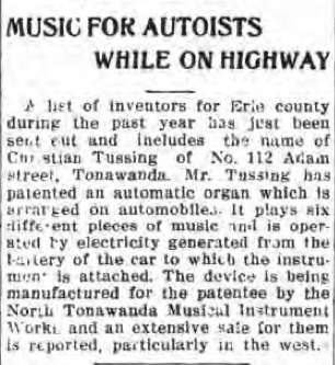 Music for Autoists While on Highway, Christian Tussing patent, NTMIW (Tonawanda News, 1915-01-05).jpg