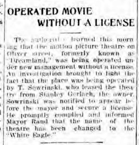 Operated movie without a license, Dreamland, White Eagle, article (Tonawanda News, 1916-03-23).jpg
