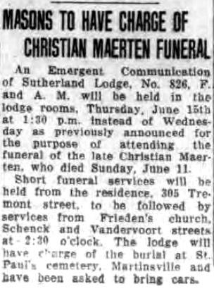 Masons to Have Charge of Christian Maerten Funeral (Tonawanda News, 1933-06-13).jpg