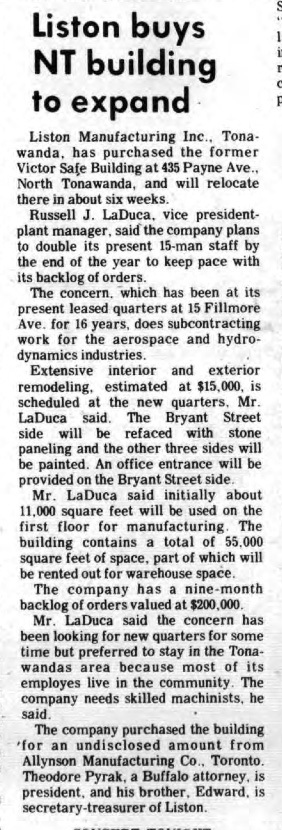 Liston Buys NT Building to Expand, article (Tonawanda News, 1972-06-21).jpg