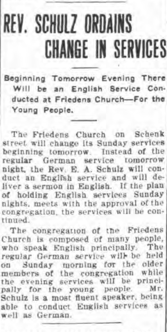 Rev Schulz ordains change in services, English to be spoken in Friedens, article (Tonawanda News, 1910-10-01).jpg