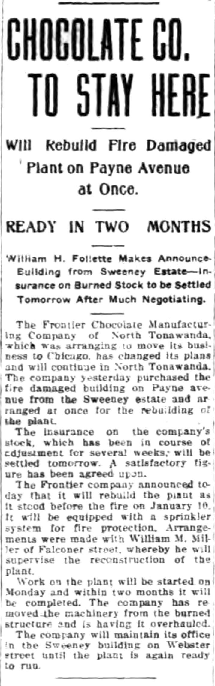 Chocolate Company to Stay Here, Frontier, article (Tonawanda News, 1915-04-08).jpg