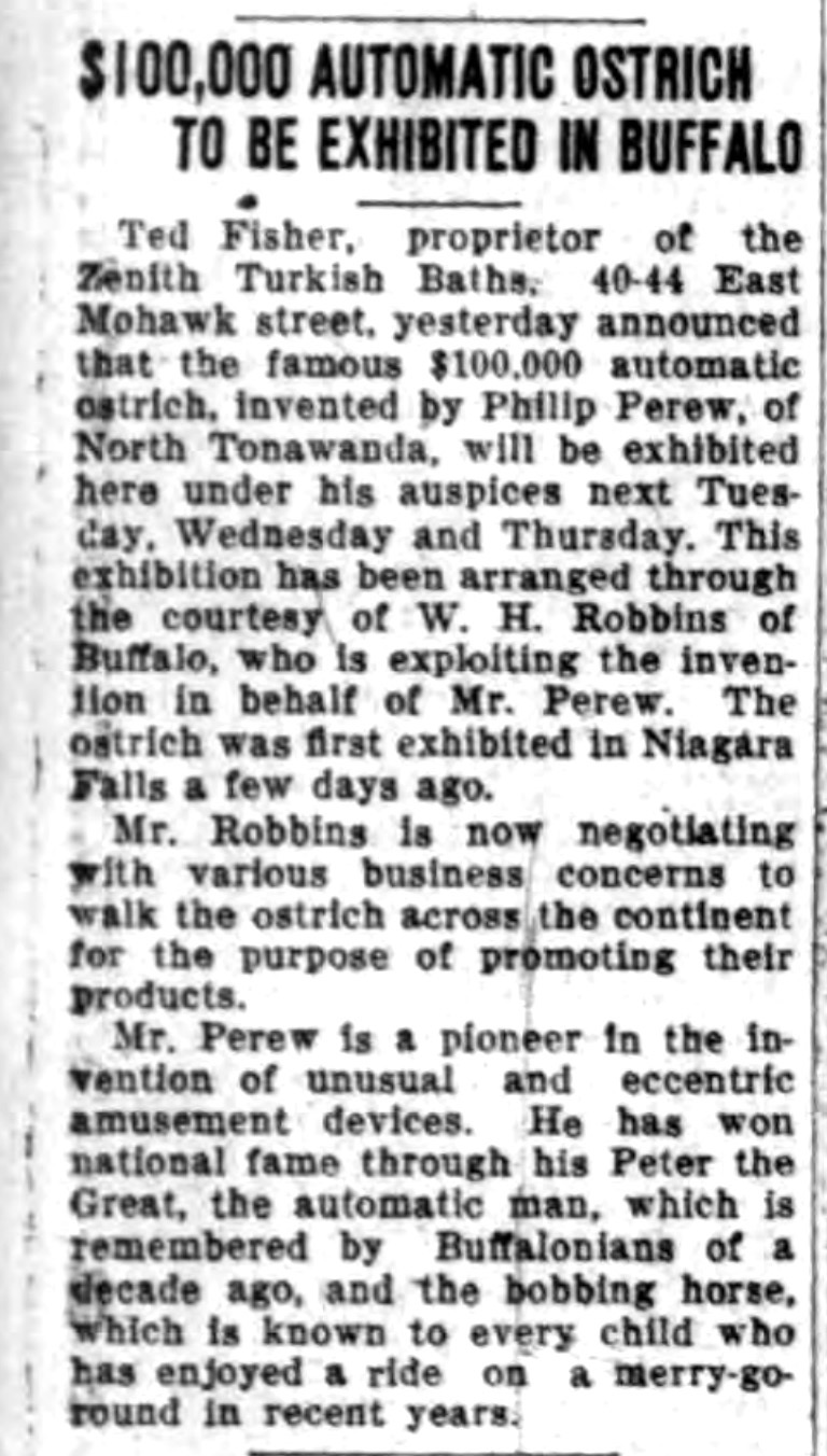 100,000 automatic ostrich to be exhibited (Courier-Express, 1927-02-06).jpg