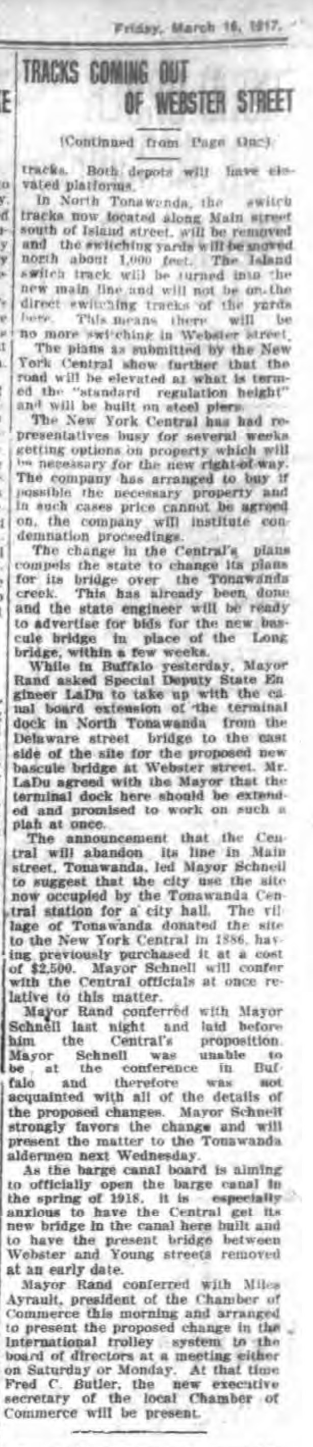 Tracks coming out of Webster St pt2, article (Tonawanda News, 1917-03-16).jpg