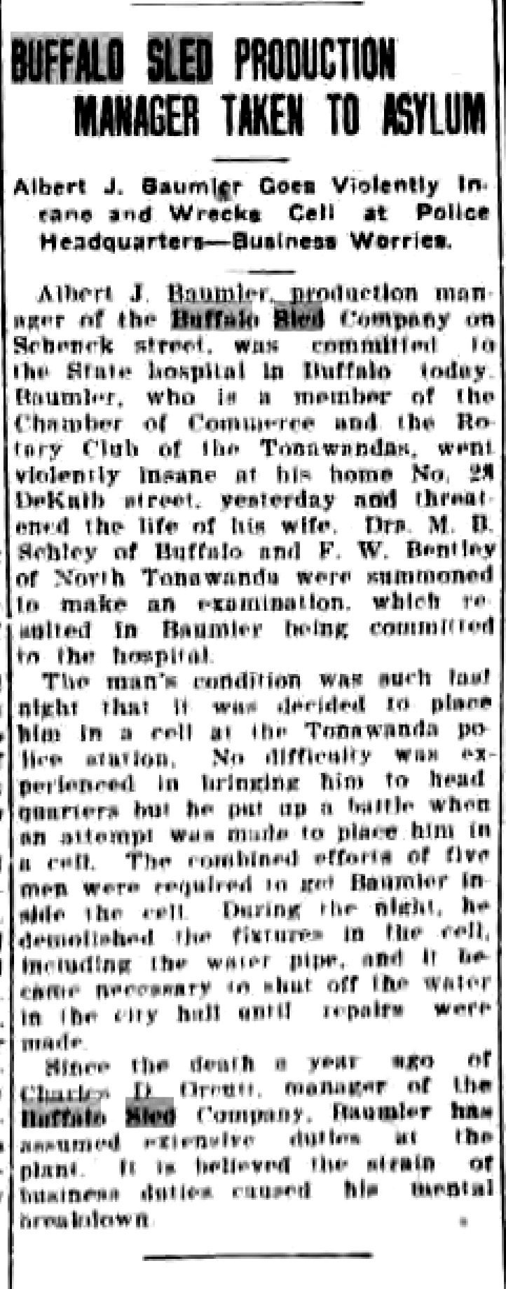 Buffalo Sled production manager taken to asylum, article (Tonawanda News, 1921-05-04).jpg