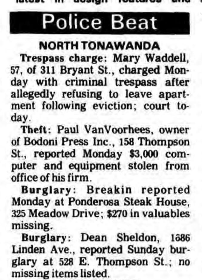 Bodoni Press computer theft, Police Beat (Tonawanda News, 1985-07-09).jpg