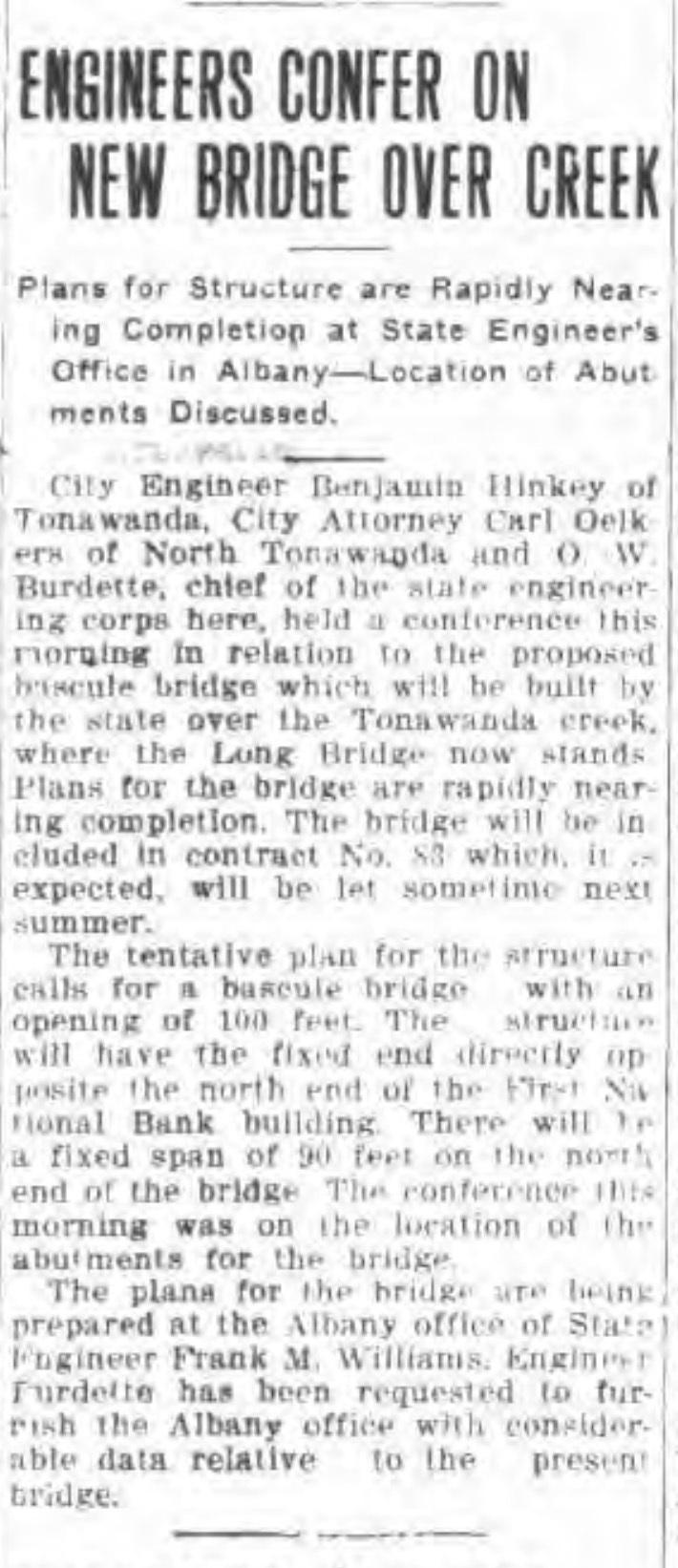Engineers confer on new bridge over creek, article (Tonawanda News, 1916-03-17).jpg