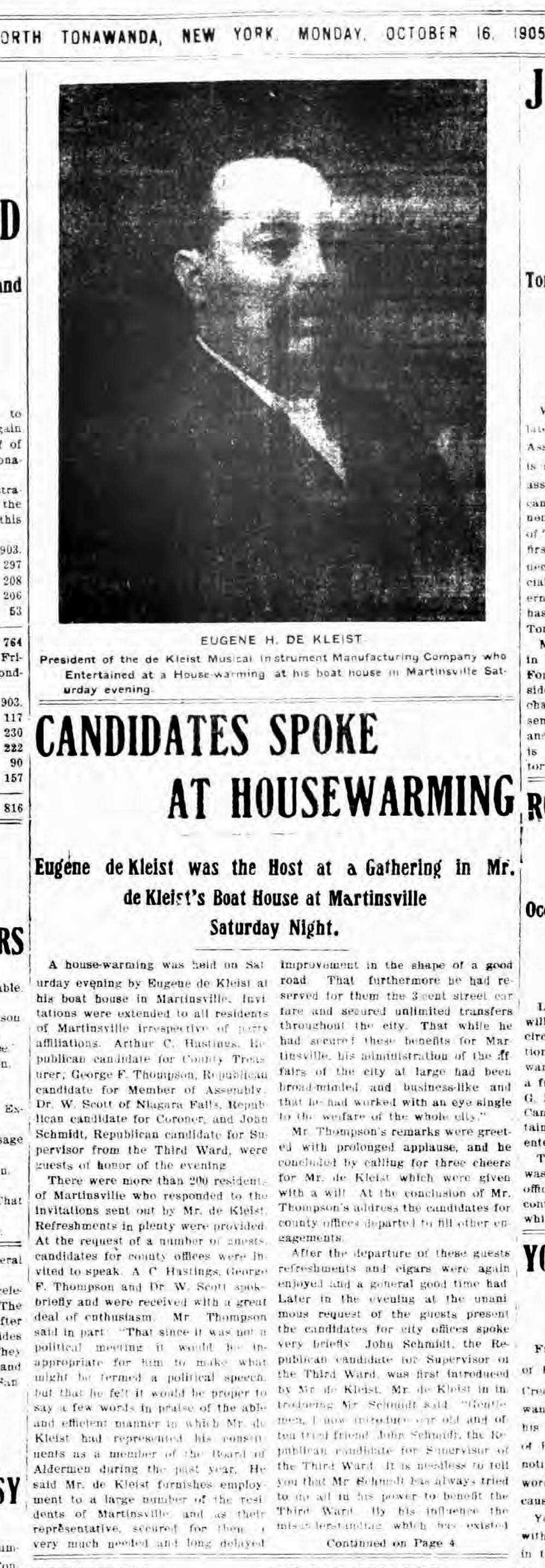 Candidates Speak at Boathouse, de Kleist photo, article (Tonawanda News, 1905-10-13).jpg