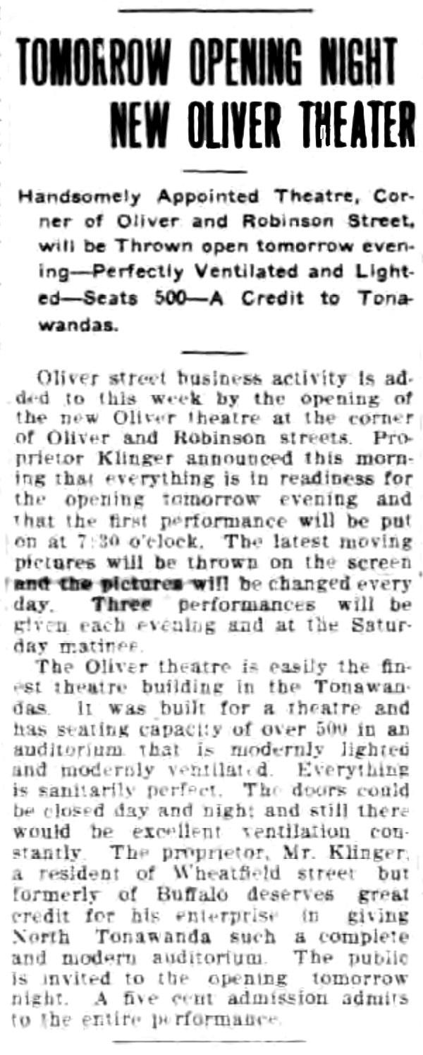 Tomorow opening night new Oliver Theater, article (Tonawanda News, 1910-11-02).jpg
