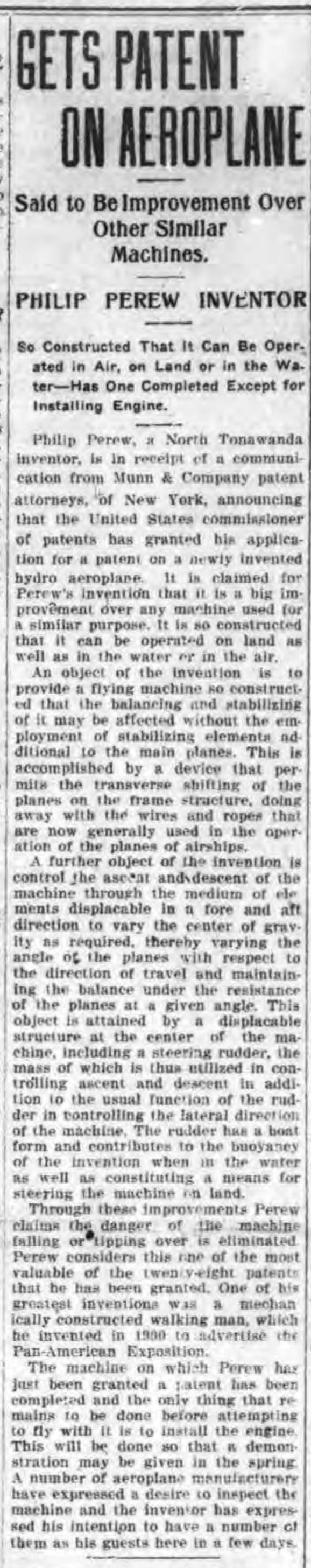 Get patent on aeroplane, article (Tonawanda News, 1917-01-20).jpg