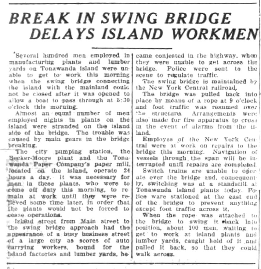 Bridge Work Delays Men, article (Tonawanda News, 1927-10-31).jpg