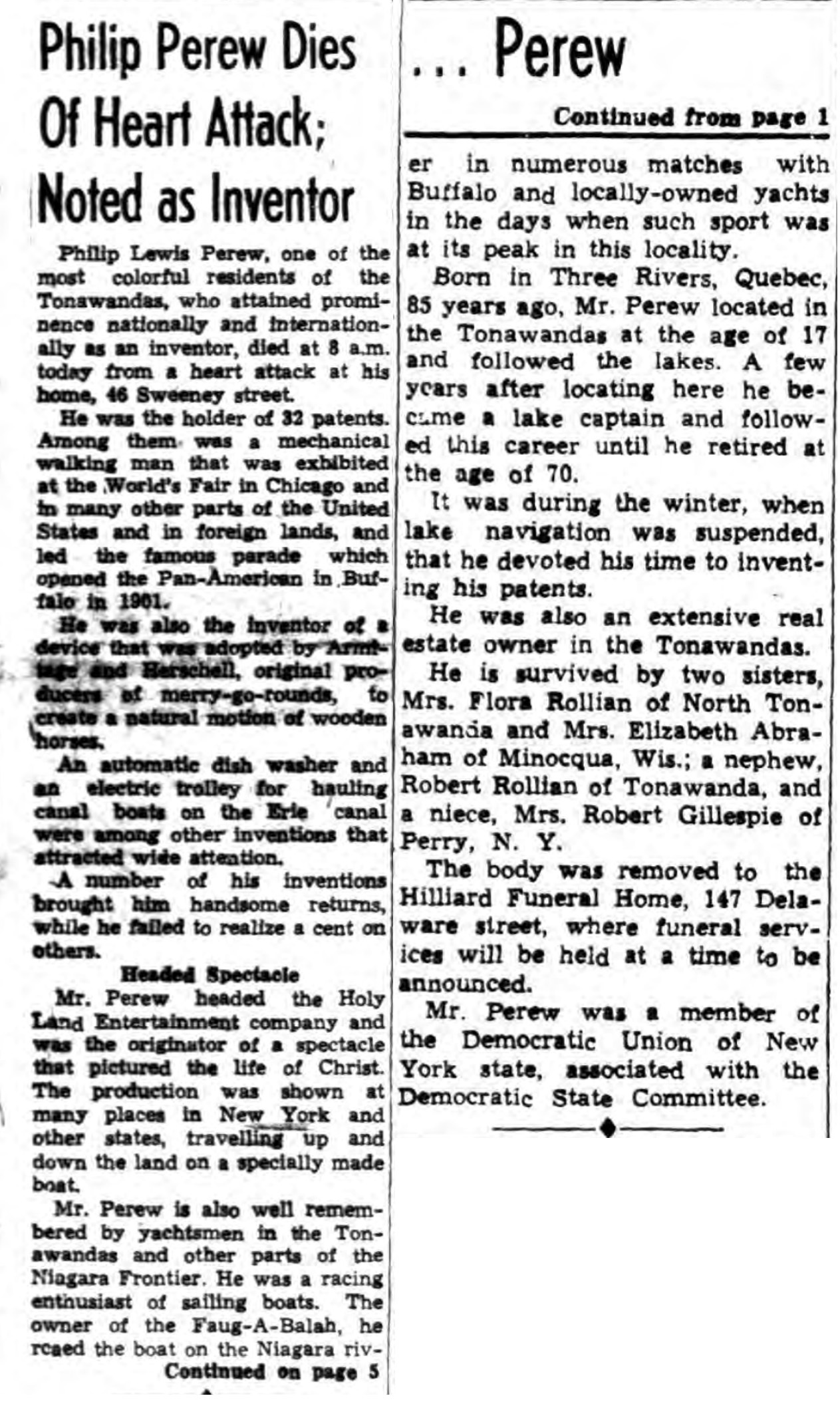 Philip Perew Dies of Heart Attack, obit (Tonawanda News, 1946-12-07).jpg