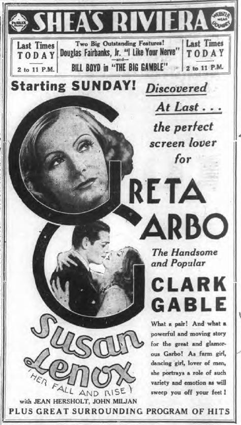 Shea's Riviera, Great Garbo, Clark Gable, Susan Lenox ad (Tonawanda News, 1931-11-14).png