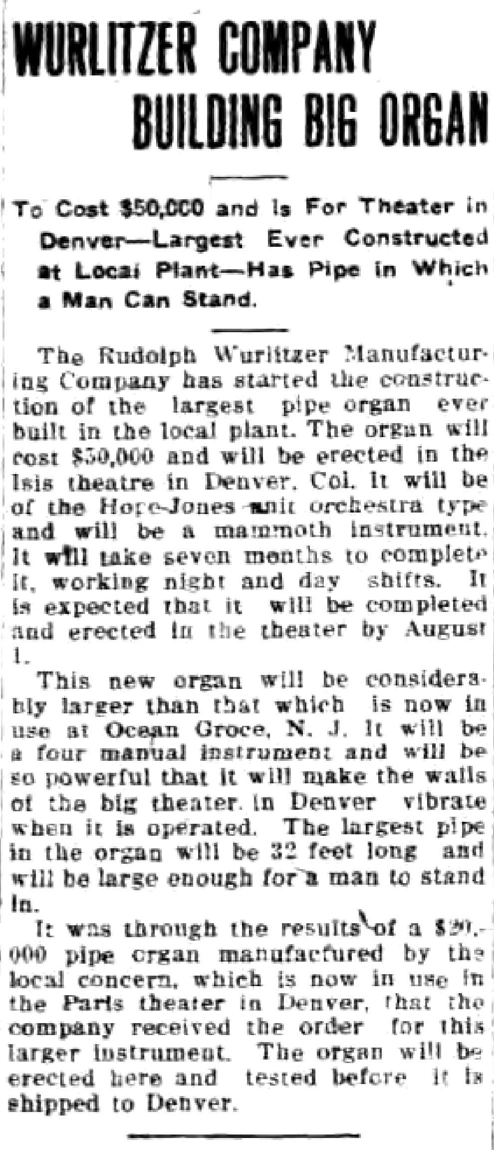 Wurlitzer Company Building Big Organ, article (Tonawanda News, 1915-04-08).jpg