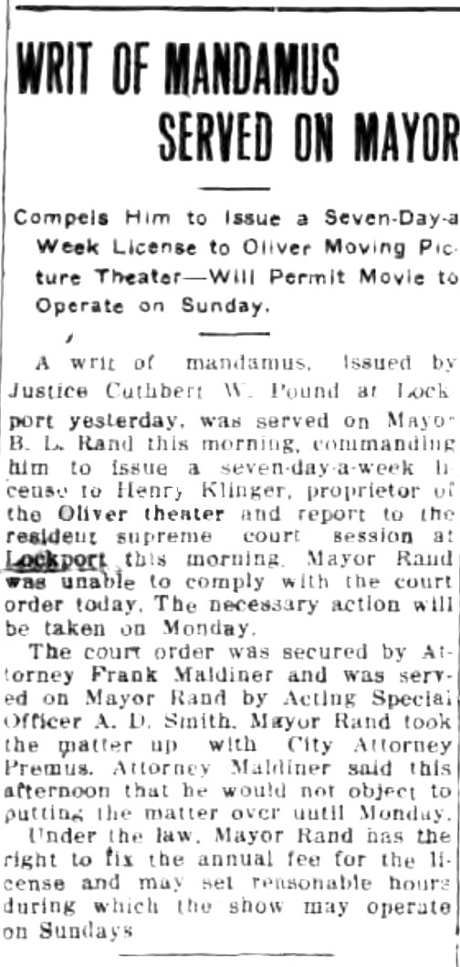 Writ of manadamus served on mayor, Oliver Theatre, article (Tonawanda News, 1915-07-24).jpg