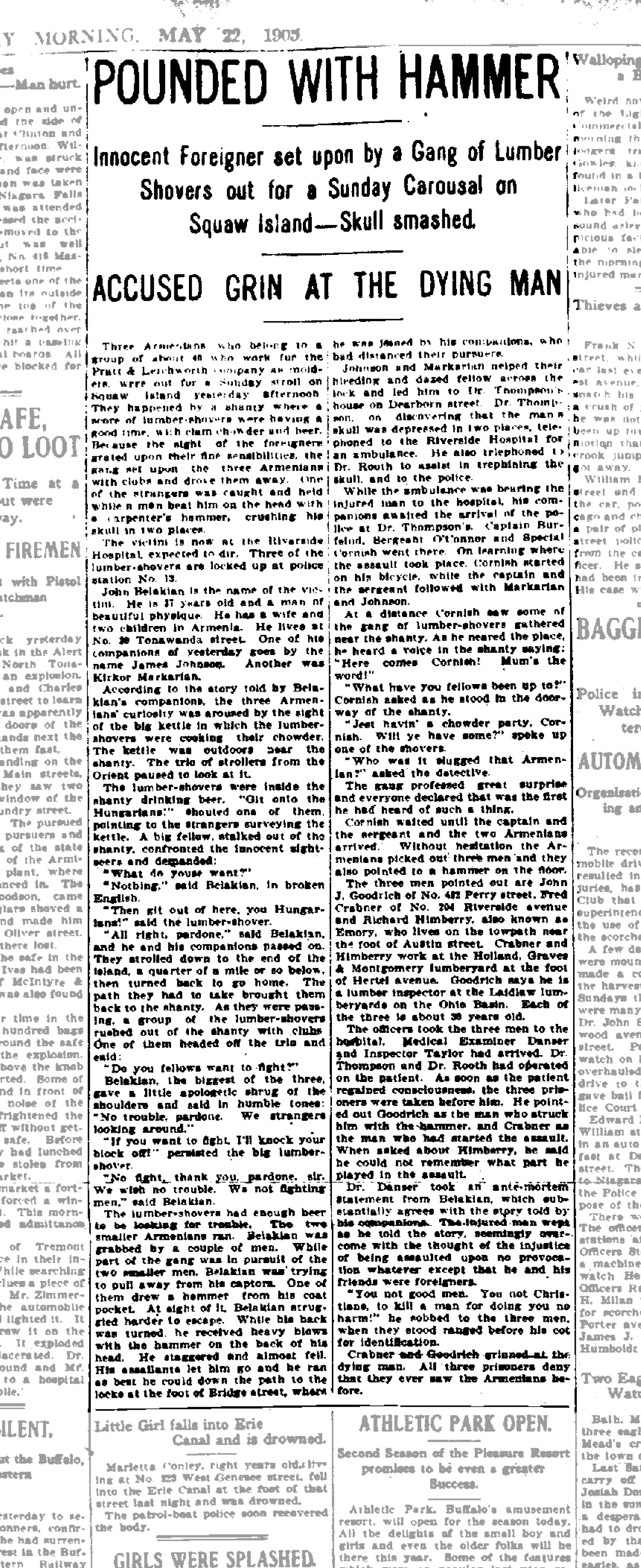 Armenian-Hun Brutally Murdered by Lumber Shovers, article (Buffalo Morning Express, 1905-05-22).jpg