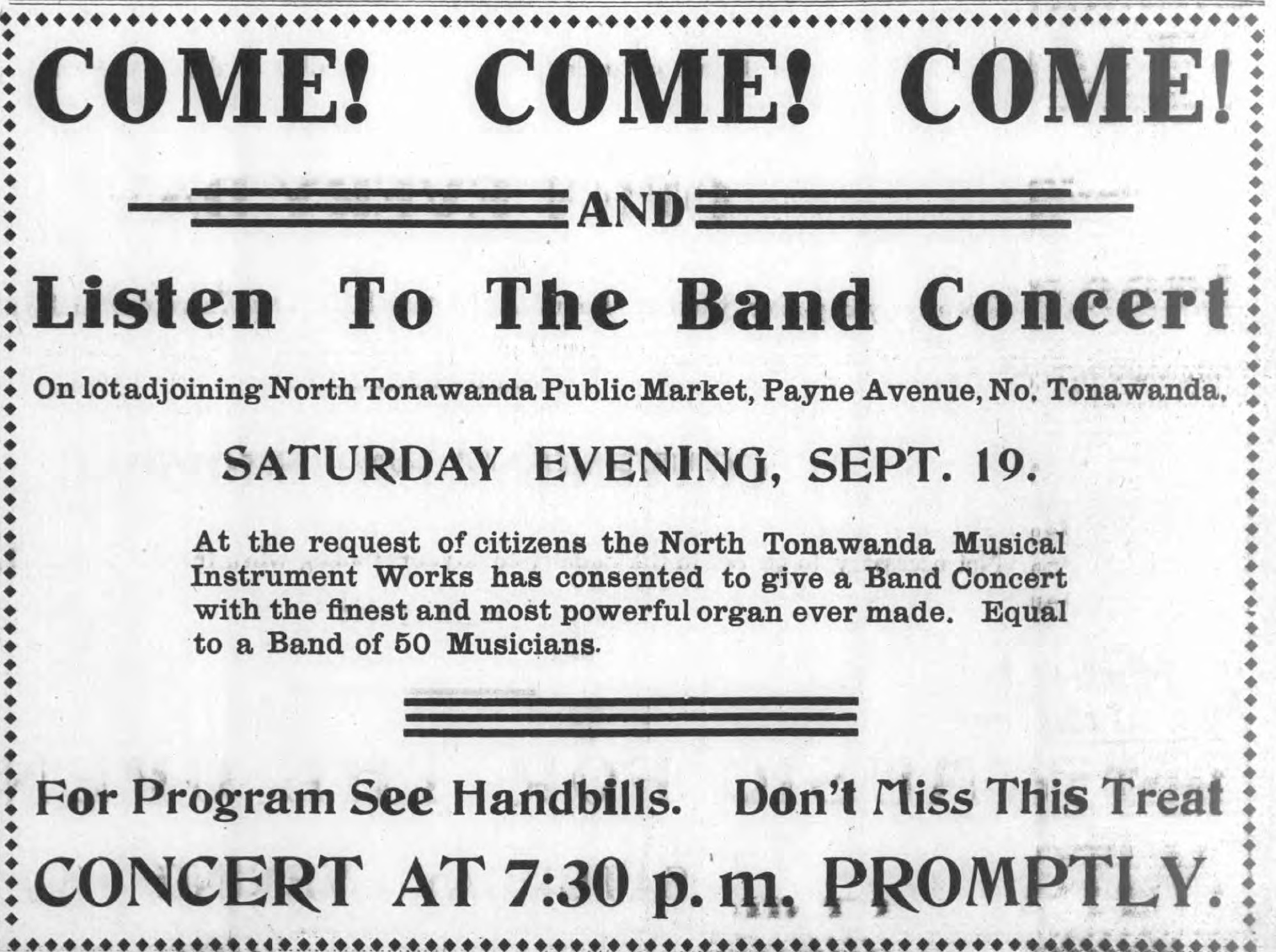 Listen to the Band Concert at Public Market, NTMIW organ, ad (Tonawanda News, 1908-09-18).jpg