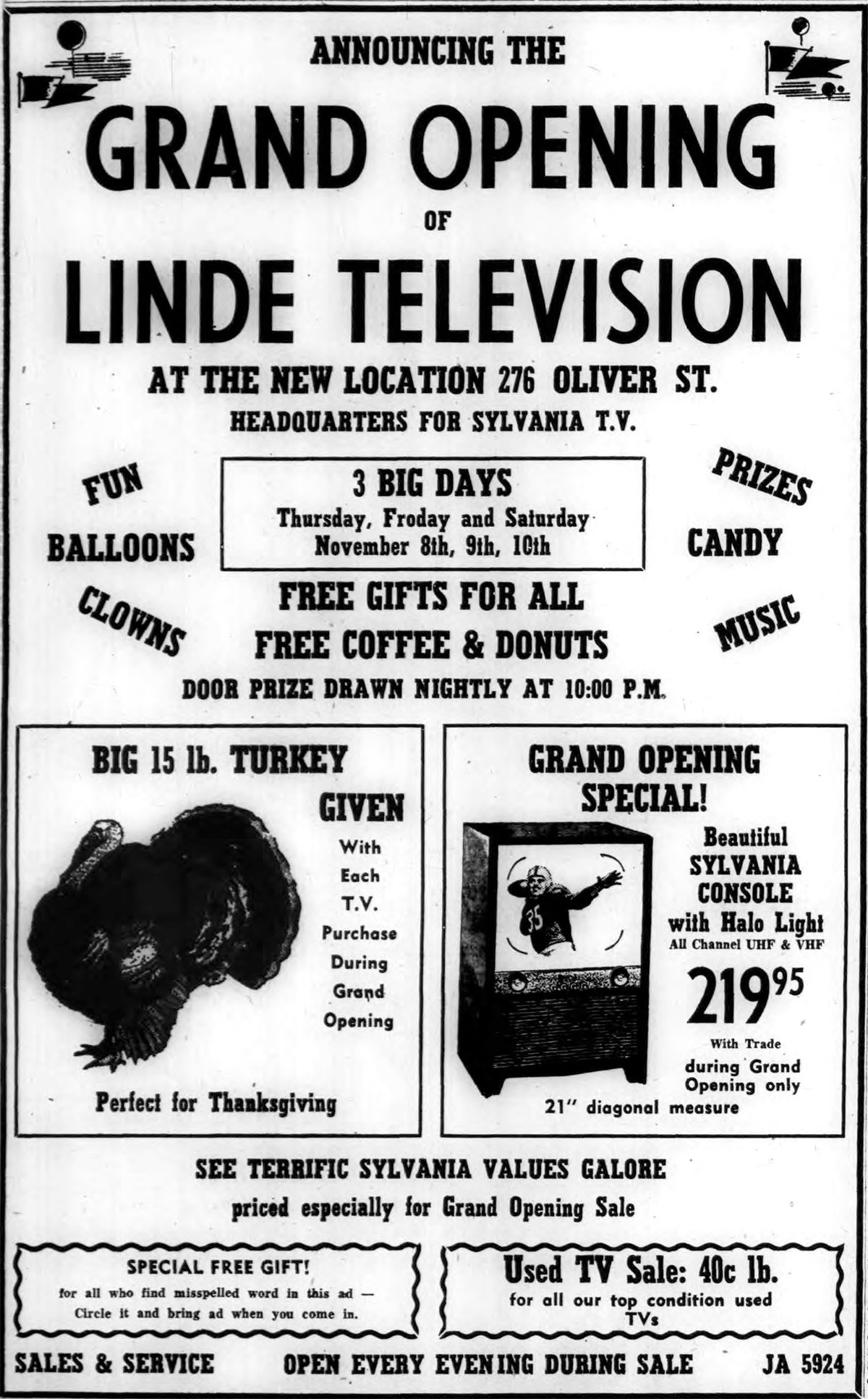Linde Television 276 Oliver Grand Opening, ad (1956-11-07).jpg