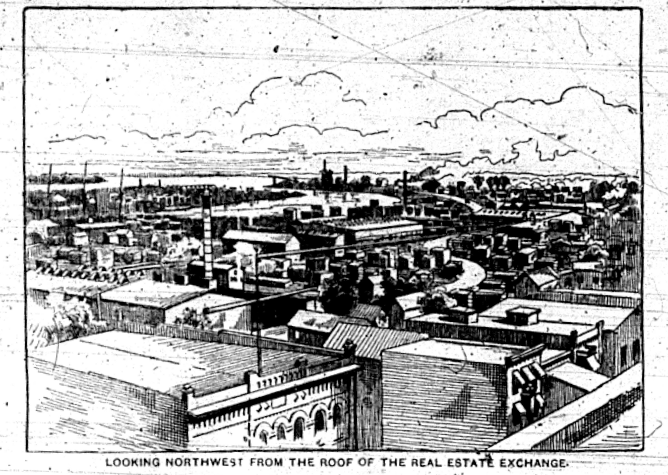Looking northwest form the roof of the Real Estate Exchange, illustration (1893-08-05 Tonawanda News).jpg