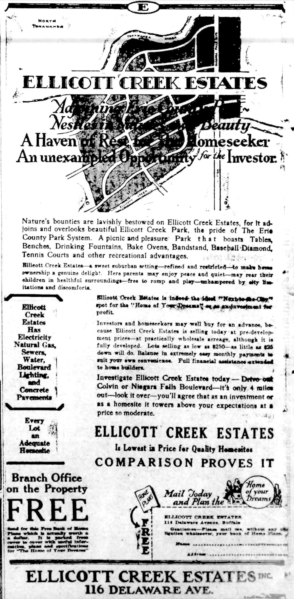 Ellicott Creek Estates, ad (Buffalo News, 1926-10-26).jpg