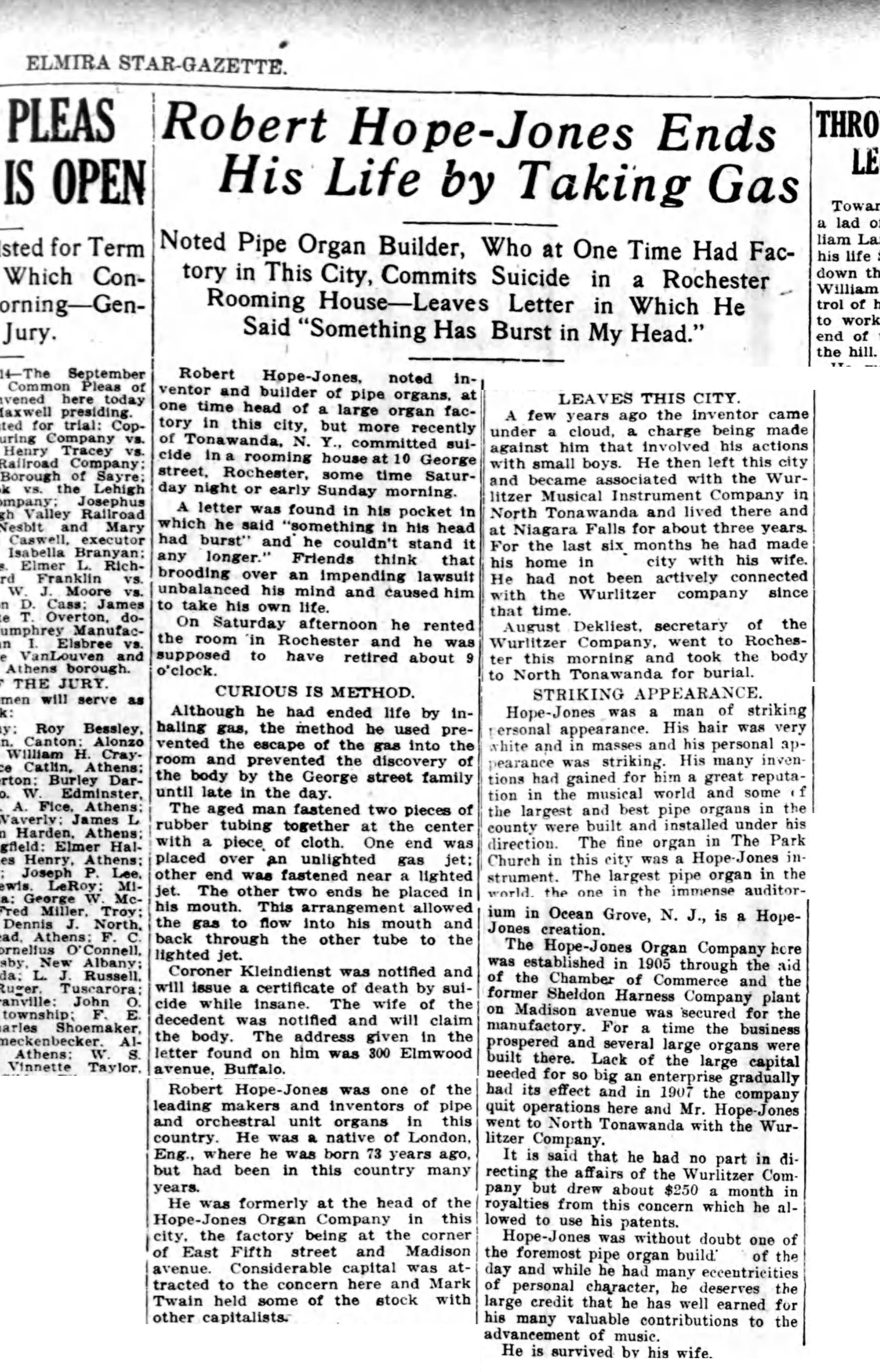 Robert Hope-Jones ends his life by taking gas, article (Elmira Star-Gazette, 1914-09-14).jpg