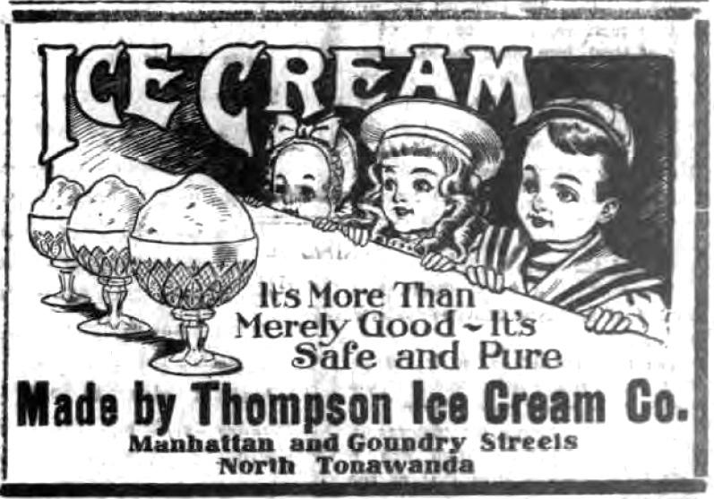 Thompson Ice Cream Company, ad (Tonawanda Evening News, 1908-05-00).jpg
