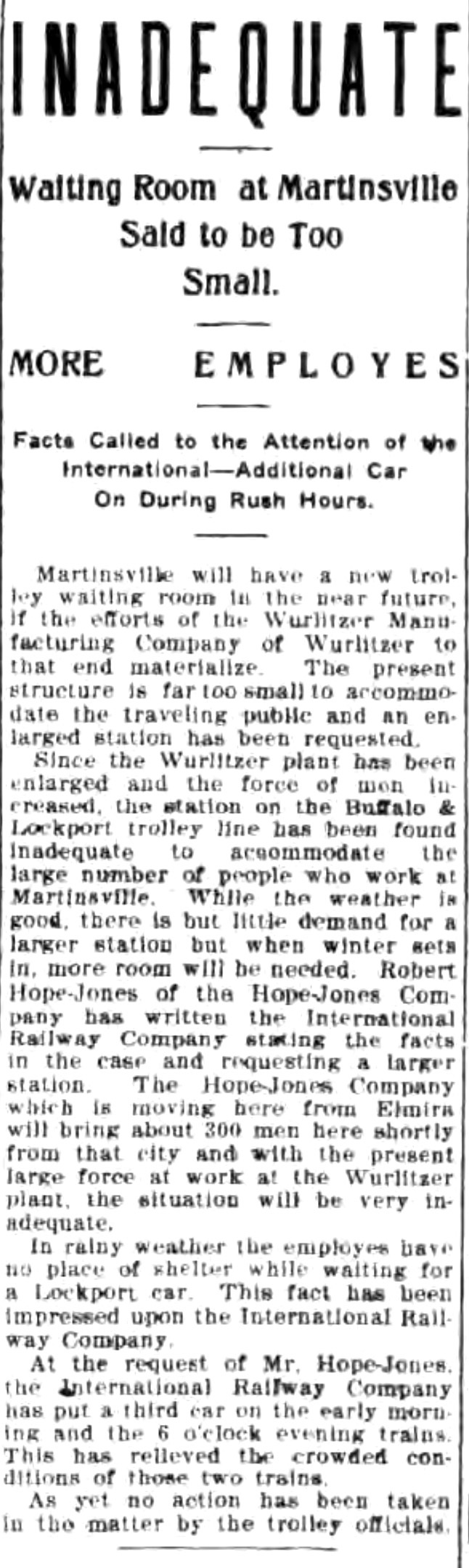 Inadequate, Martinsville trolley waiting room too small for Wurlitzer, article (Tonawanda News, 1910-09-07).jpg