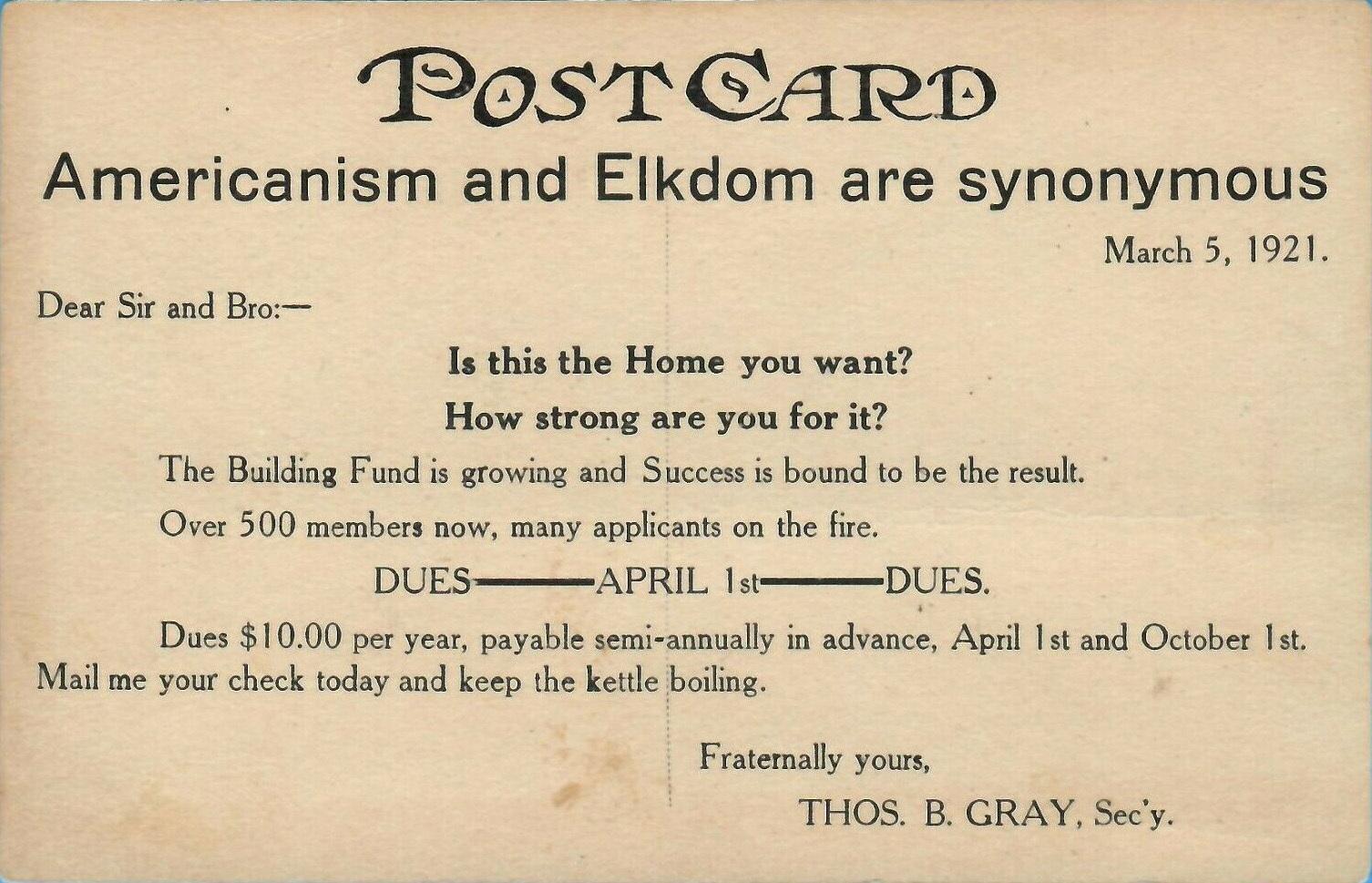 Proposed Home Of BPO Elks No 860, postcard reverse (1921).jpg