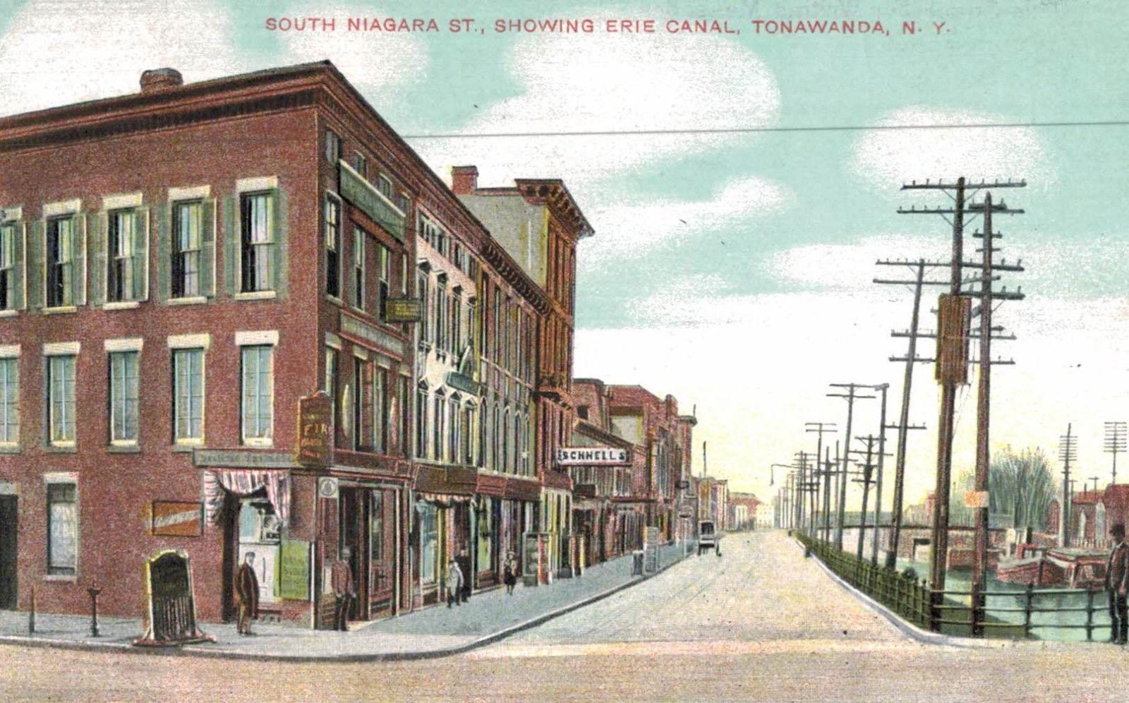 South Niagara Street, showing Erie Canal, postcard (1909).jpg
