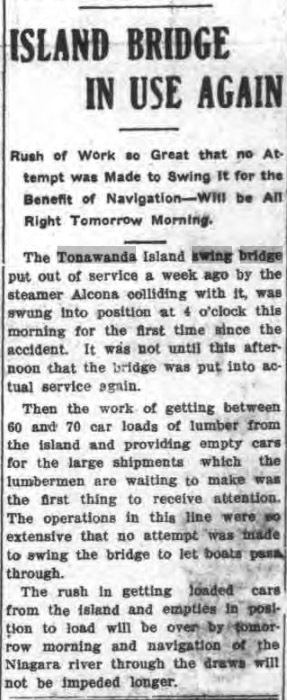 Island Bridge in Use Again, article (Tonawanda News, 1907-10-30).jpg