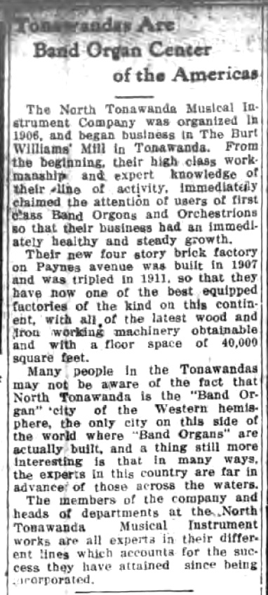 Tonawandas Are Band Organ Center of the Americas, article (Tonawanda News, 1912).jpg