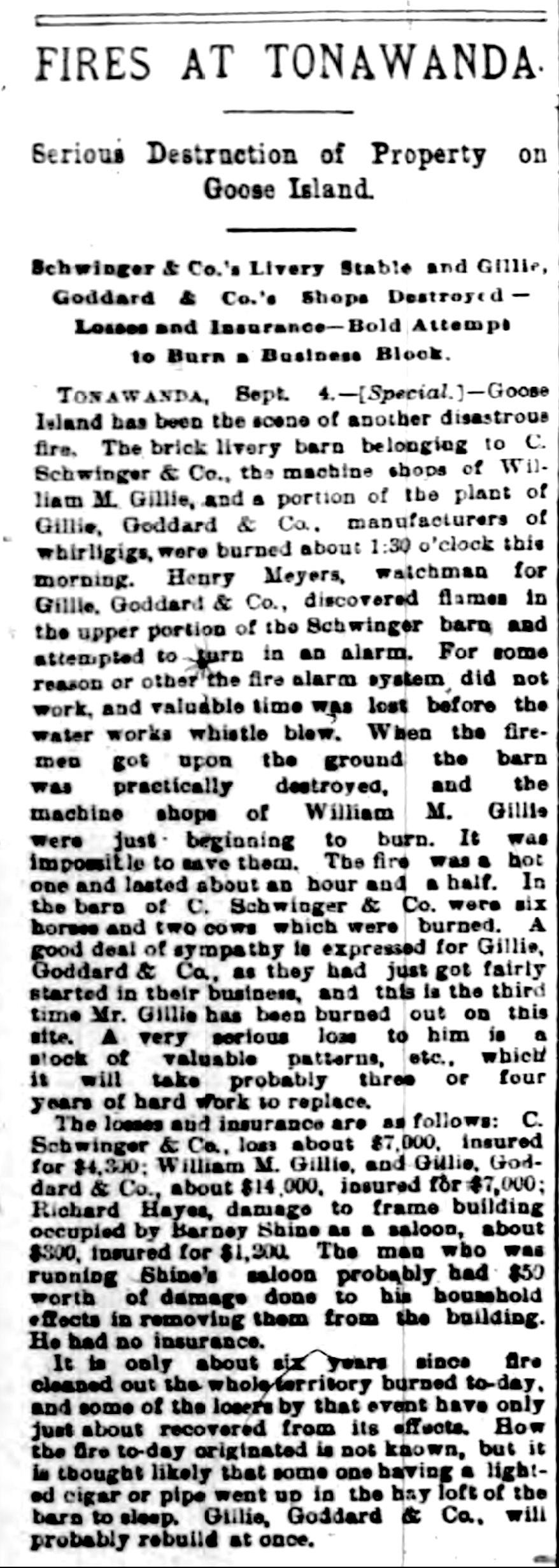 Fires at Tonawanda, Gillie, Goodard, Schwinger destroyed, article (Buffalo Courier, 1892-09-05).jpg