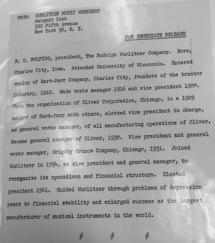 Wurlitzer press release on R. C. Rolfing (NTPL, 1956).jpg