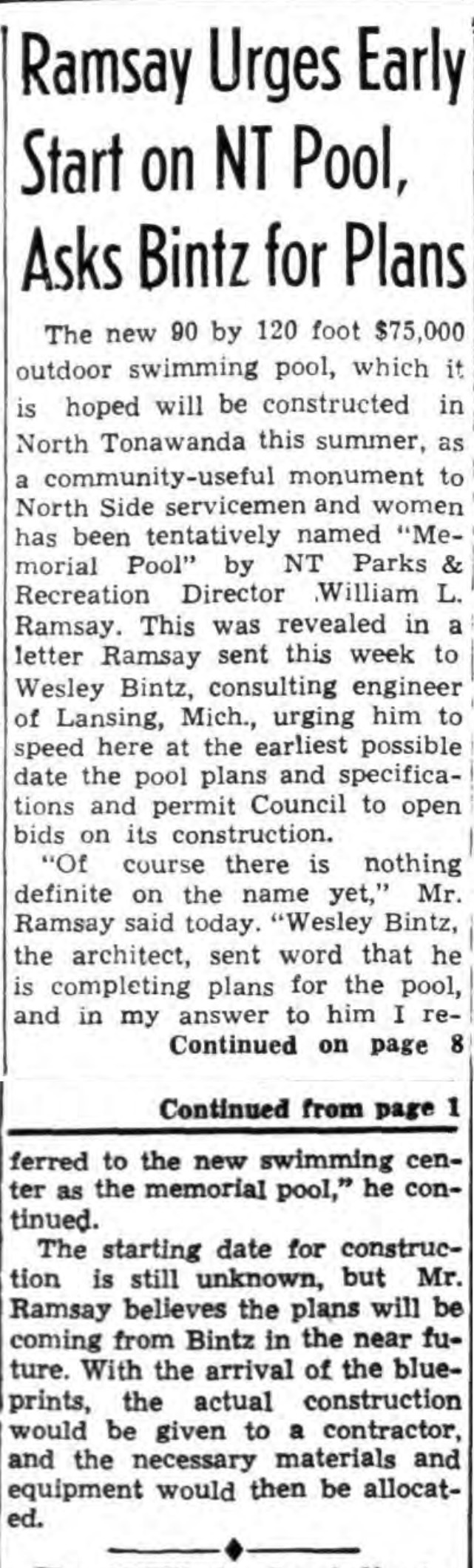 Ramsay urges early start on NT pool, asks Bitz for plans, article (Tonawanda News, 1946-03-27).jpg