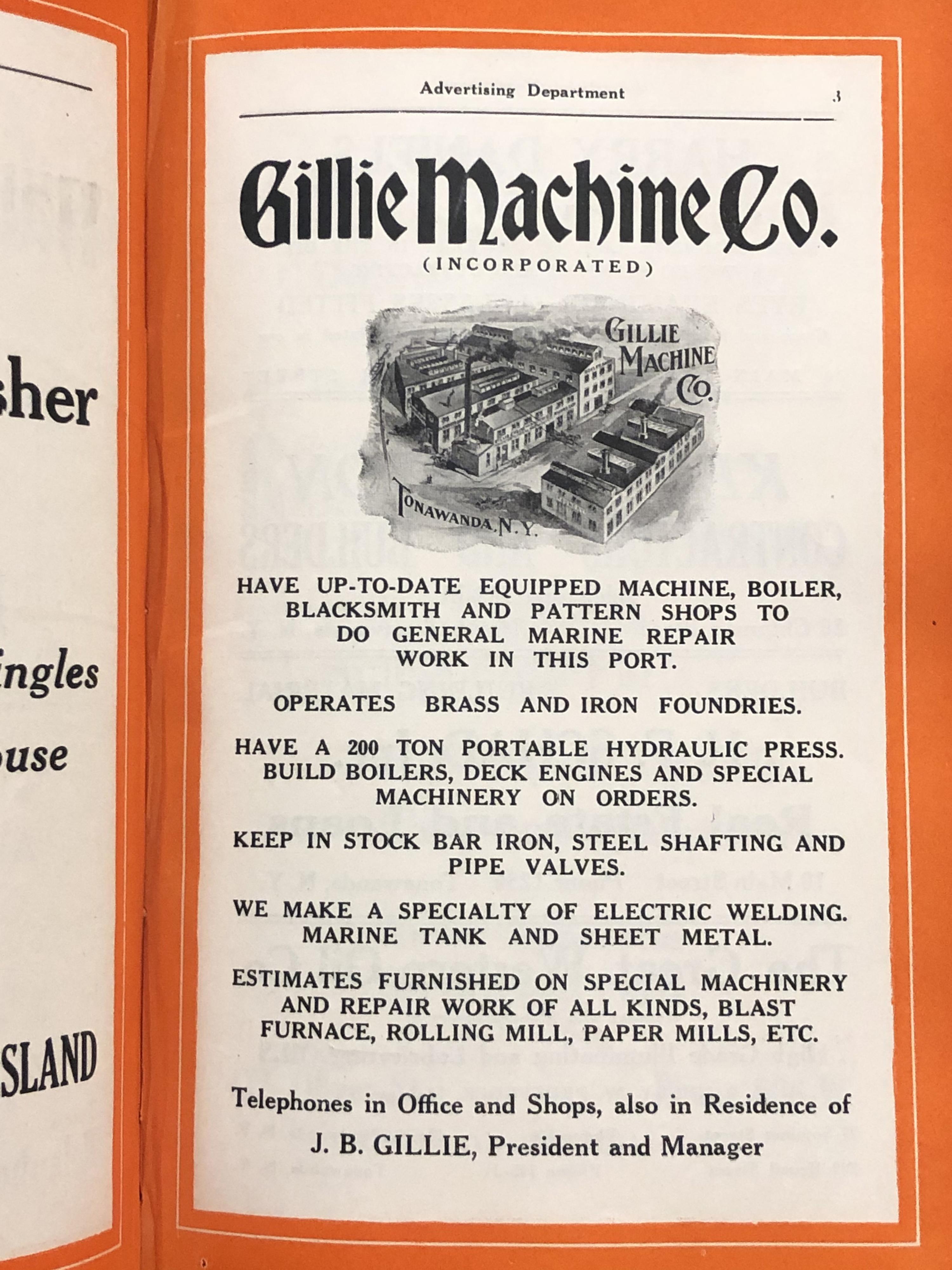 Gillie Machine Company, ad (City Directory, 1923).jpg