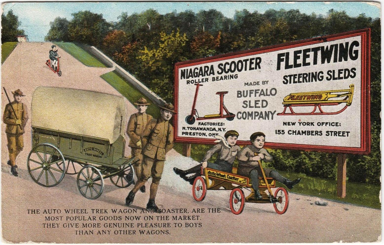 Niagara Scooter, Auto Wheel, Fleetwing, postcard (Buffalo Sled Co., 1919-10-14).jpg