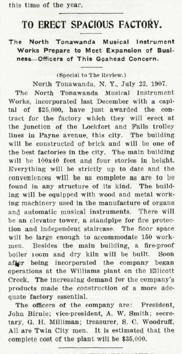 To Erect Spacious Factory, NTMIW (Music Trade Review, 1907-07-22).jpg