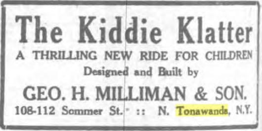 Kiddie Klatter, ride by George Milliman, ad (Tonawanda News, 1928-11-07).jpg