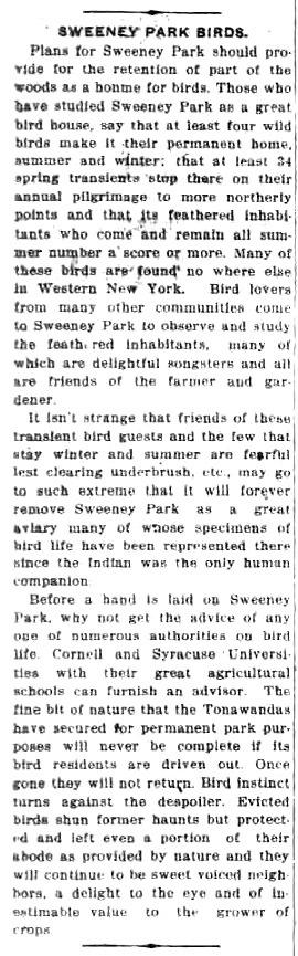 Sweeney Park Birds, article (Tonawanda News, 1918-02-01).jpg