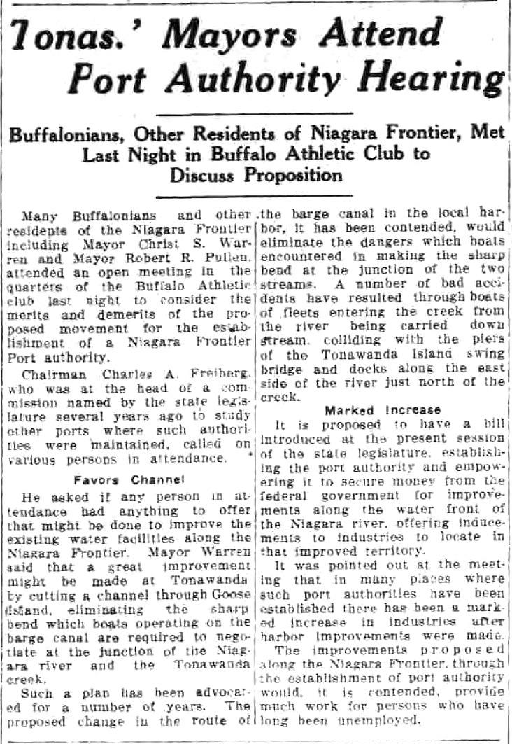 Mayors Attend Port Authority Hearing, channel through Goose Island, article (Tonawanda News, 1934-07-20).jpg