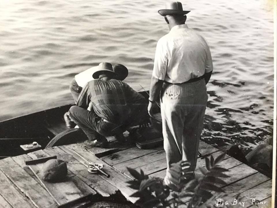 Men fishing, Big Bay Point, Martinsville, photo (c1945).jpg