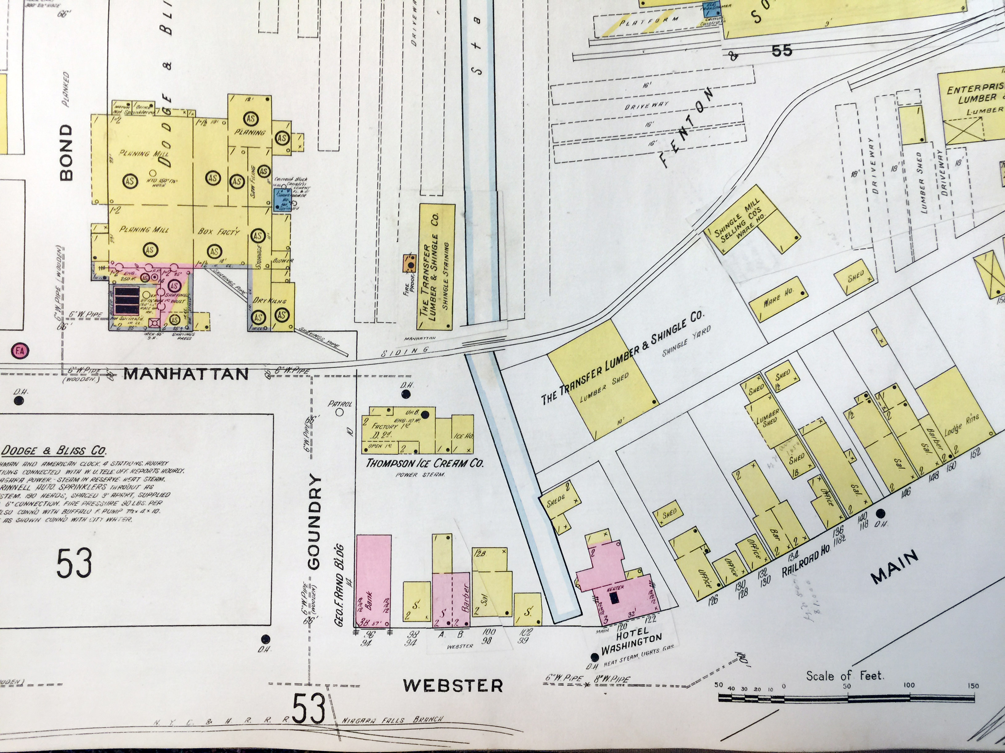 Dodge and Bliss, Hotel Washington, Webster and Main north of Goundry, map detail (Sanborn Map Company, 1910, 1913).jpg