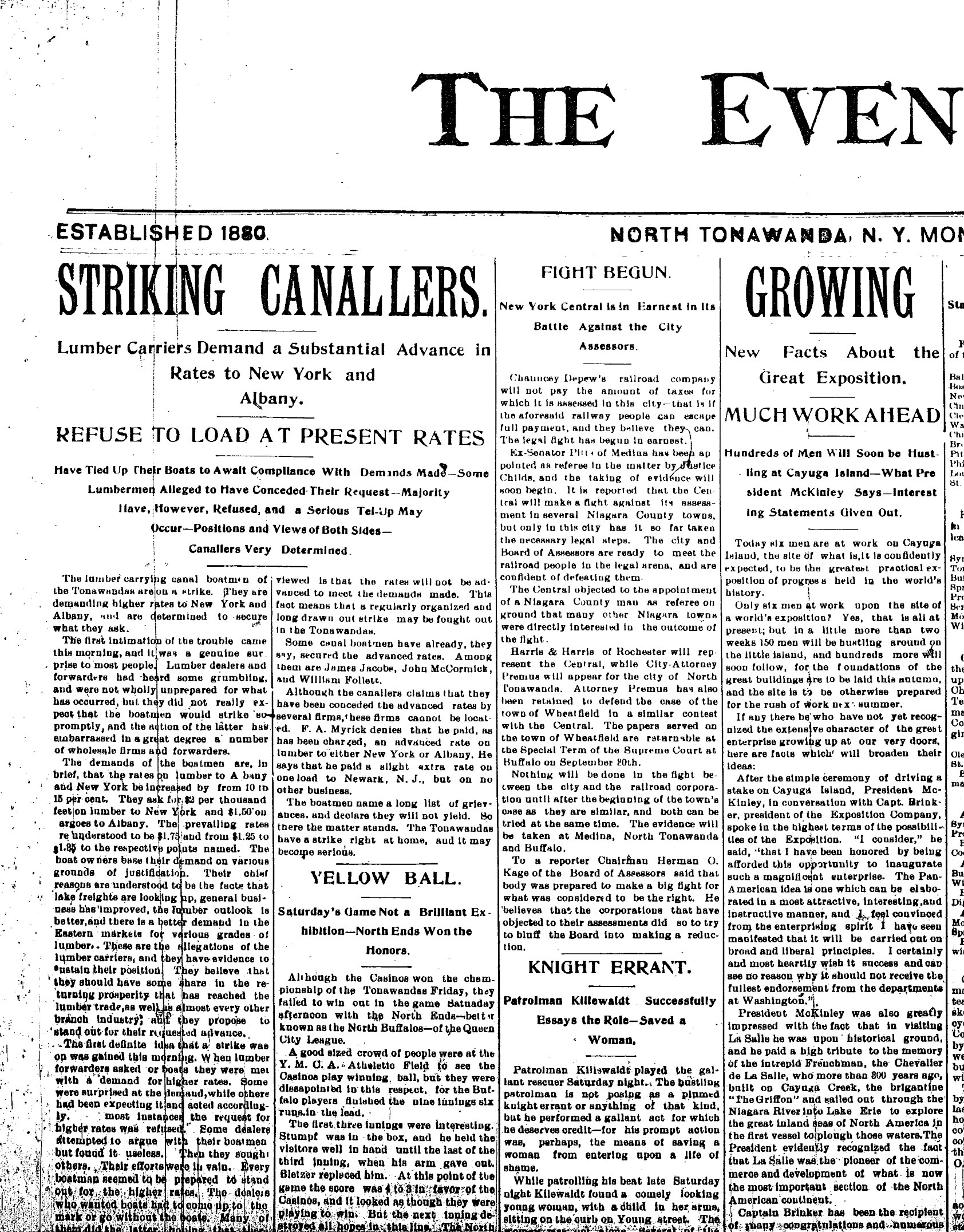 Striking Canallers, Pan Am Exposition News, article (Tonawanda News, 1897-09-13).jpg