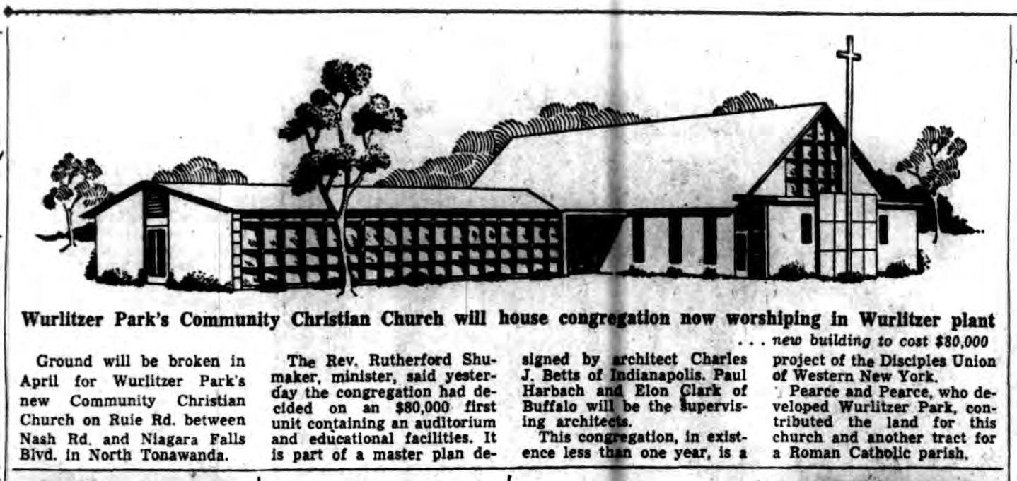 Wurlitzer Park church will house congregation worshipping in Wurlitzer plant, article (Buffalo Courier-Express,1959-01-24).jpg