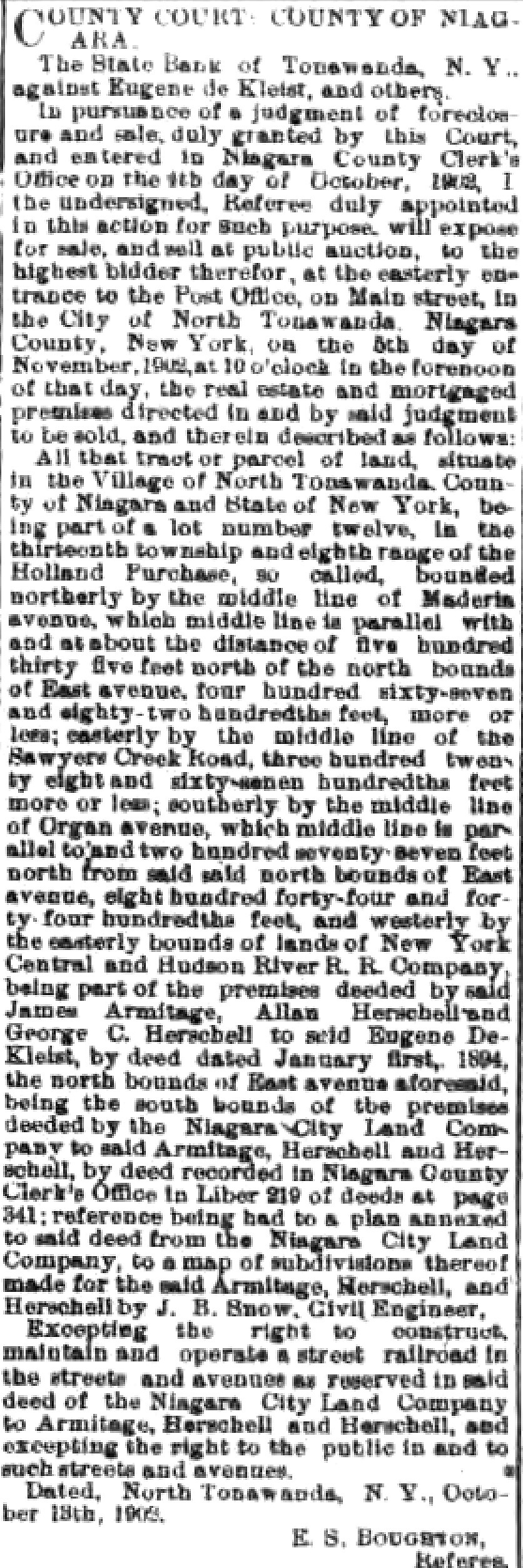 Land deeded to De Kleist on January 1st 1894, foreclosure sale notice (Tonawanda News, 1902-10-18).jpg