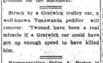 Peddler struck by Gratwick trolley car, joke, article (Tonawanda News, 1908-02-13).jpg