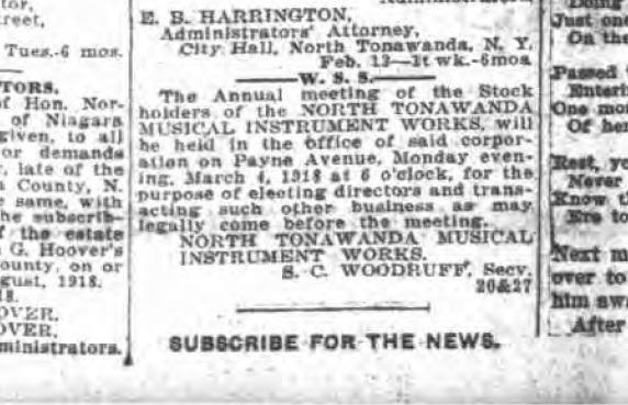 NTMIW stockholders meeting, S. C. Woodruff, article (Tonawanda News, 1918-02-25).jpg