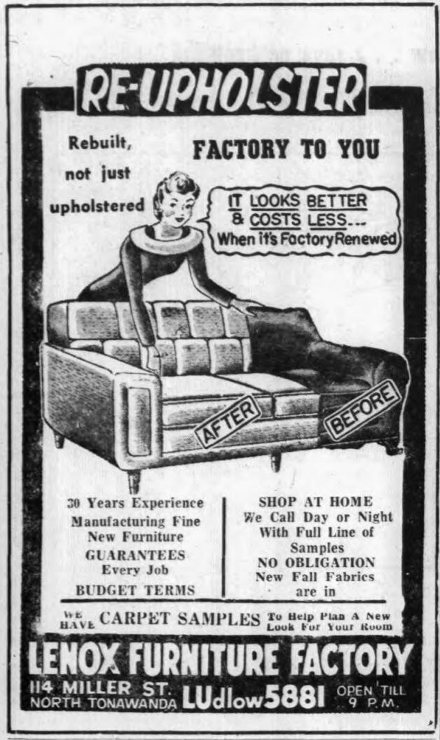 Lenox Furniture Factory, 114 Miller, logotype, ad (Tonawanda News, 1958-10-08).png