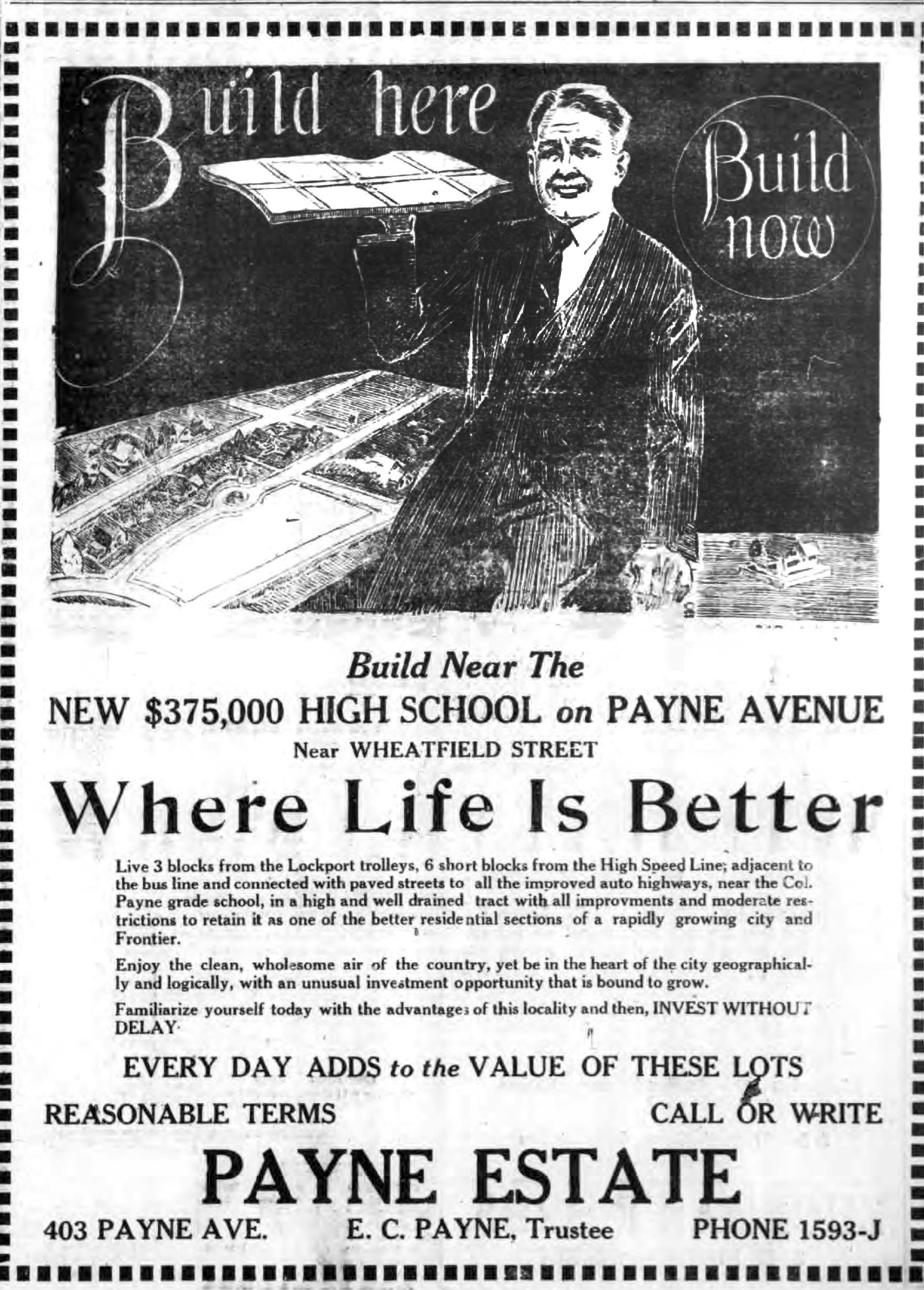 Build Here, Whee Life Is Better, Payne Estate, illustrated ad (Tonawanda News, 1924-07-12.jpg