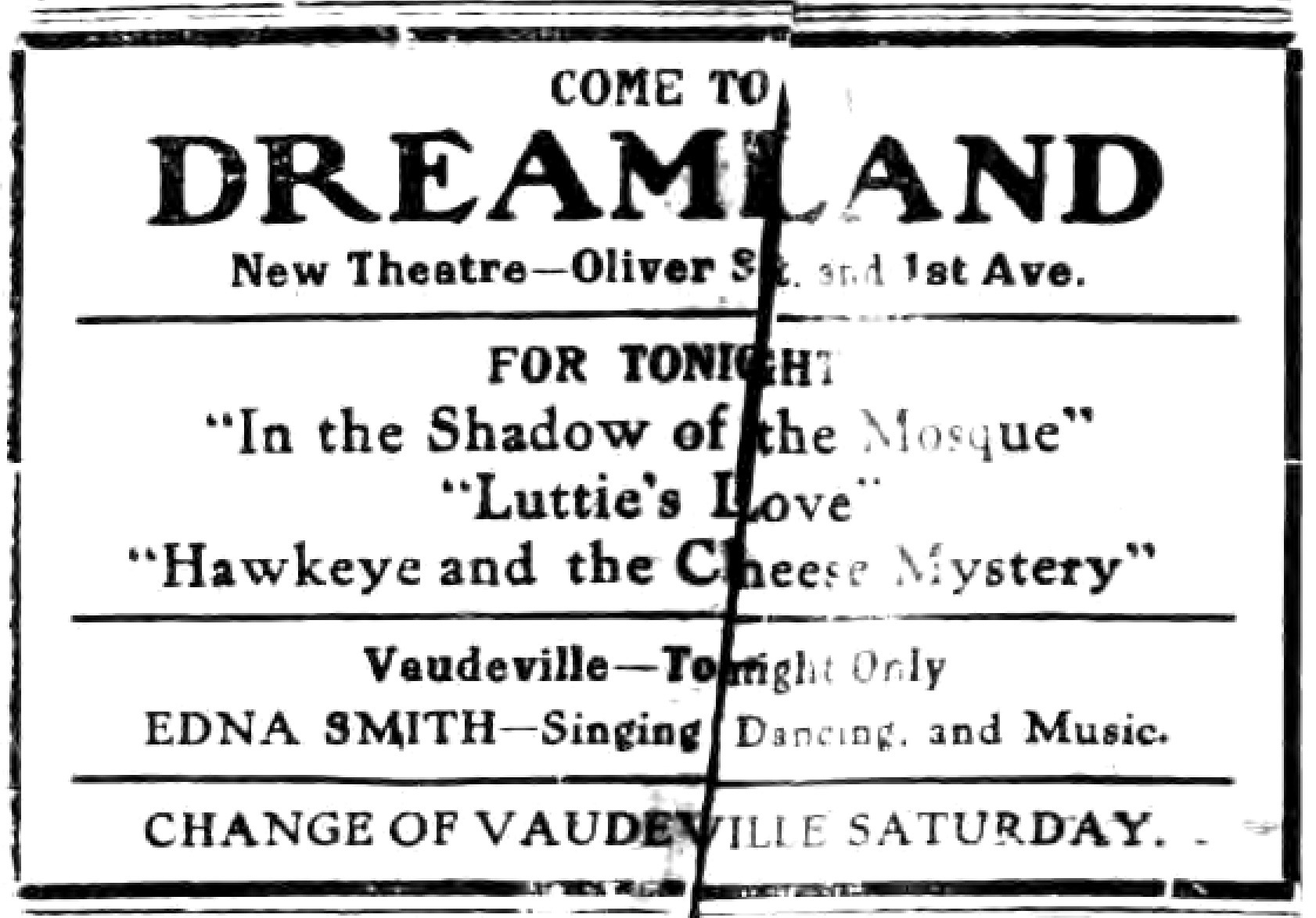 Come to Dreamland, ad (Tonawanda News, 1914-07-01).jpg